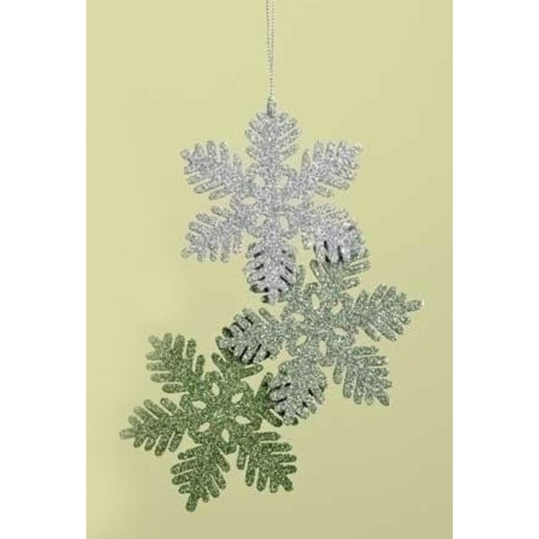 "7.5"" Green and Silver Glittered Snowflake Cluster Christmas Ornament"