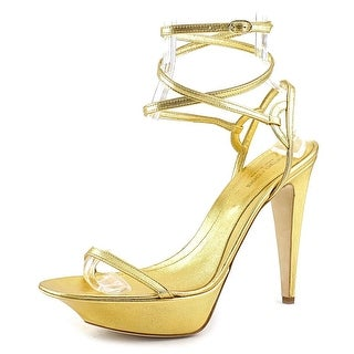 Sergio Rossi Kell Women Open Toe Leather Gold Sandals