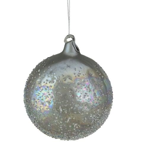 "4"" Silver Iridescent Glass Ball Christmas Ornament"