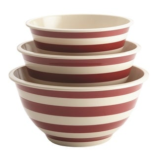 Paula Deen 46630 3 Piece Striped Pantry Ware Melamine Mixing Bowl Set, Striped Red