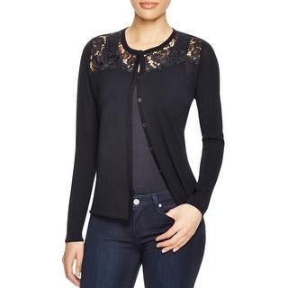 Elie Tahari Womens Tarine Cardigan Sweater Merino Wool Lace Inset