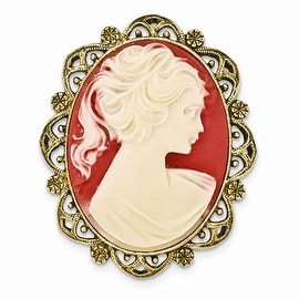 Goldtone Acrylic Cameo Brooch
