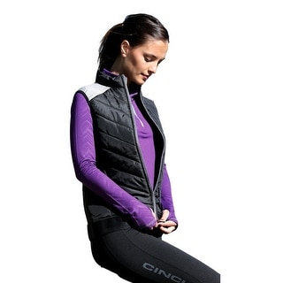 Cinch Western Vest Womens Athletic Quilted Poly Zip Black MAV7809001