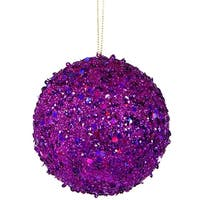 "Fancy Purple Holographic Glitter Drenched Christmas Ball Ornament 4.75"" (120mm)"