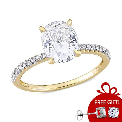 Oval 2ct TGW Moissanite and 1/10ct TDW Diamond Engagement Ring in 14k Yellow Gold by Miadora