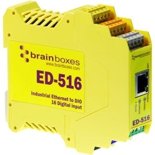 Brainboxes ED-516 Brainboxes ED-516 Ethernet to Digital IO 16 Inputs - 1 x Network (RJ-45) - 1 x Serial Port - Fast Ethernet -