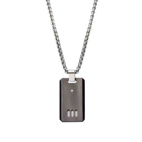 Inox Adult Stainless Steel Black IP Gun Metal Finish with CZ Dog Tag Pendant with Chain 22 inch long.