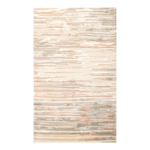 4x6 Hand Tufted Hand Made Wool & Art Silk Designer Modern & Contemporary Oriental Area Rug Beige, Brown Color - 4' x 6'