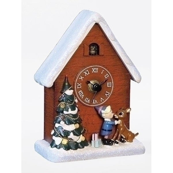 "6"" Battery Operated Musical Rudolph and Hermey Clock Christmas Decoration"