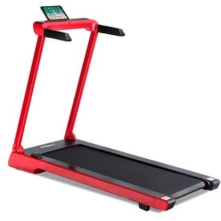 Gymax Folding Electric Treadmill 2.25Hp LED Display APP Free Installation Running - Red