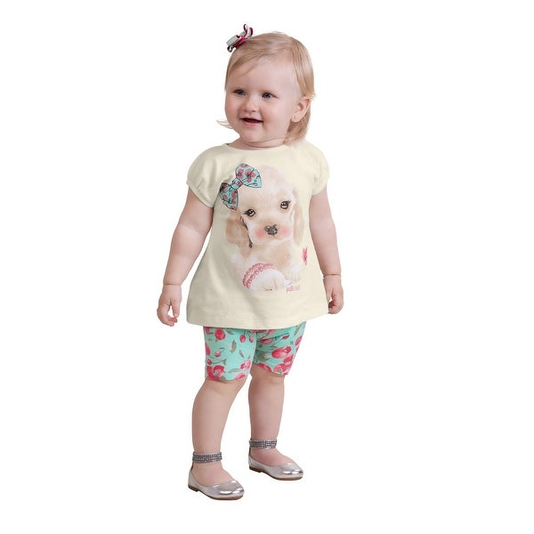 Pulla Bulla Baby Girl Set Floral Tee and Leggings Outfit