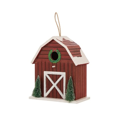 "Glitzhome 8.58""H Christmas Trees Barn Birdhouse"