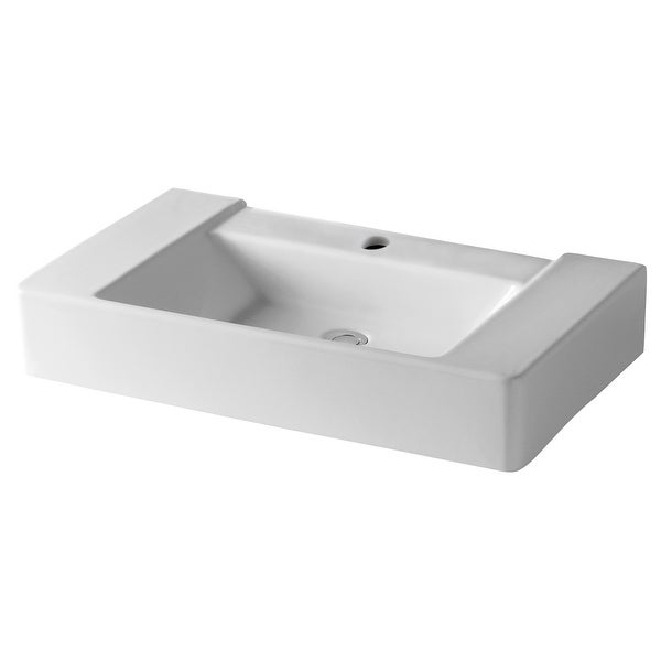 """Mirabelle MIR32191A 31-1/2"""" Porcelain Console Bathroom Sink Only with 1 Pre-Cut Faucet Hole - White"""