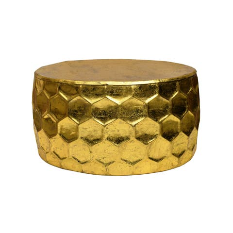 Modern Design Large Honeycomb Pattern Gold Leaf Round Coffee Table