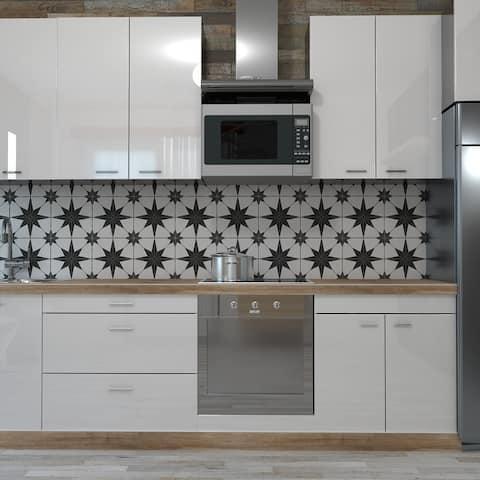 "SomerTile Stella Nero Encaustic 9.75"" x 9.75"" Porcelain Floor and Wall Tile"