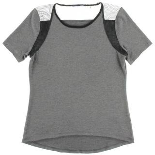 Elie Tahari Womens Clover Heathered Mesh Inset T-Shirt