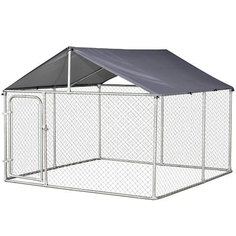 PawHut Galvanized Steel 7.5-foot Outdoor Locking Dog Kennel
