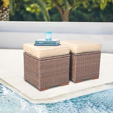 Outdoor Cushioned Wicker Ottomans (Set of 2)