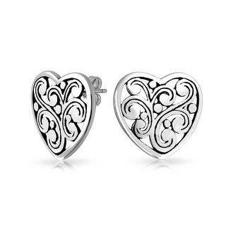 Bling Jewelry Filigree Scroll Heart Stud earrings 925 Sterling Silver 17mm