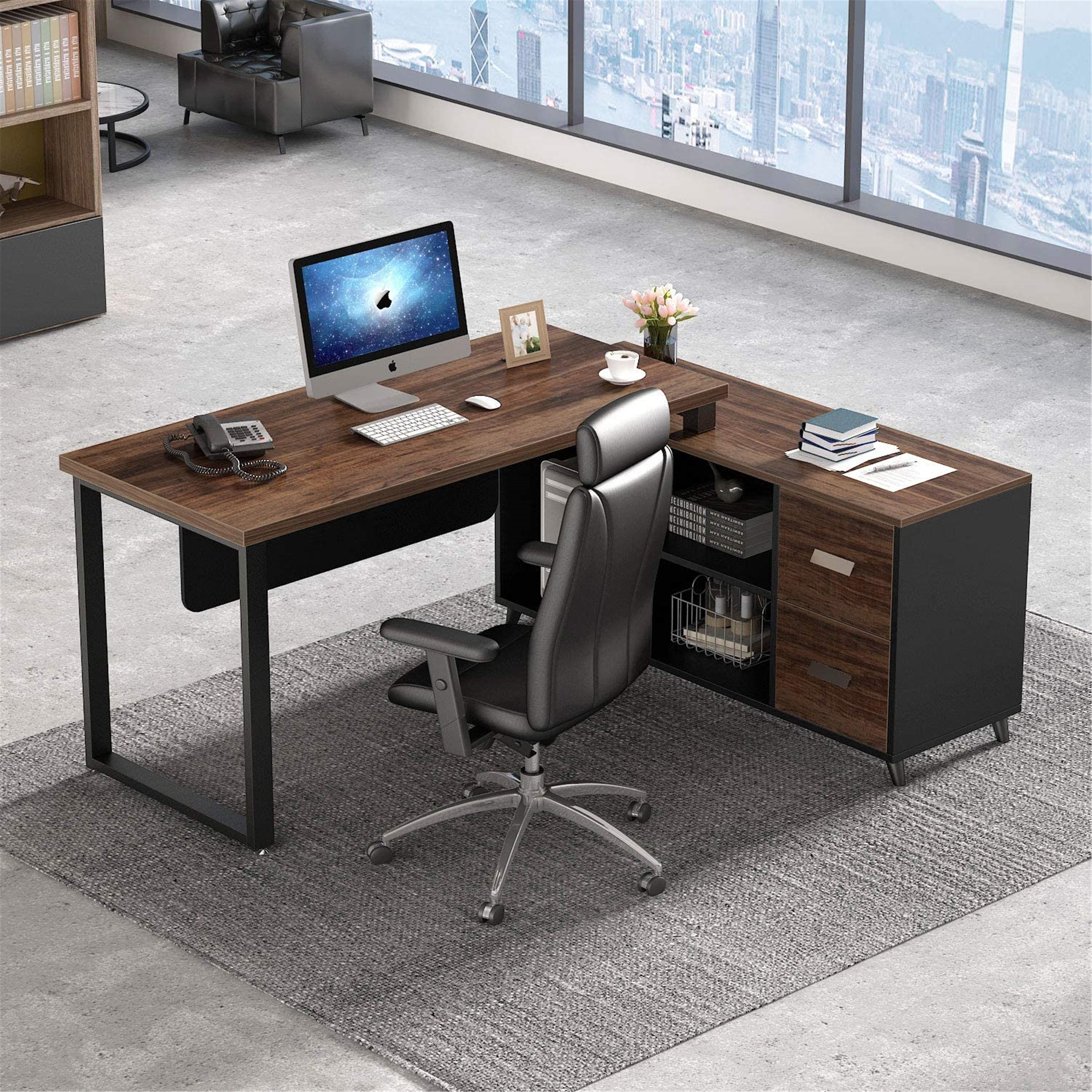 L Shaped Computer Desk Executive Office Desk With File Cabinet Black Brown Overstock 31746507