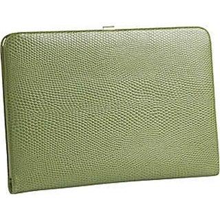 Budd Leather Framed Lizard Print Calf Skin Photo Case - Lime Green