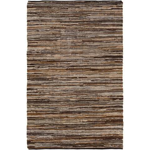 Hand Woven Balbach Leather/Cotton Area Rug - 6' x 9'