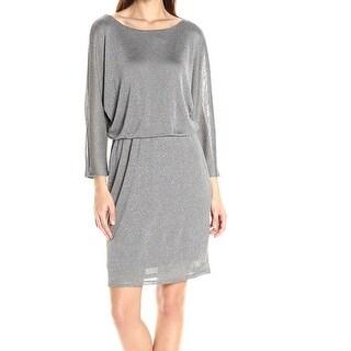 Nine West NEW Silver Shimmer Dolman Dress Women's Size 4 Blouson