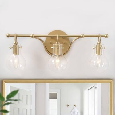 "Modern Gold 3-light Bathroom Vanity Lights Linear Glass Wall Sconces - L20""x H8.5""x E6"""
