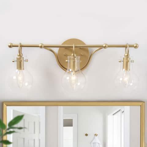 "Modern Gold 3-light Bathroom Vanity Lights Sconces for Powder Room - L20""x H8.5""x E6"""