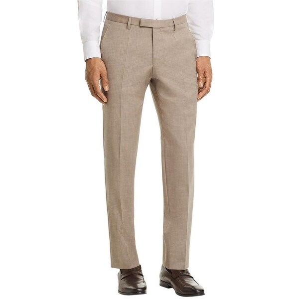b80e6993 Shop Hugo Boss Men's Leenon Regular Fit Wool Dress Pants 40 Beige Flat  Front Trousers - Free Shipping Today - Overstock - 23613586
