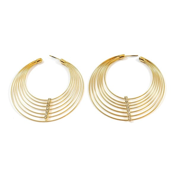 Flat Multi Rope Wire Hoop Fashion Earrings Stone Center, Gold