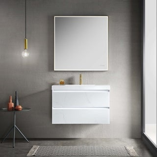 LED Lighted Floating / Wall Huang Vanity with Acrylic Sink and Comfortable Dimmed Vanity Light
