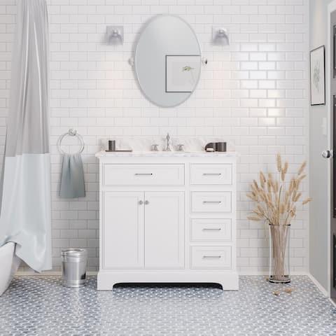 "KitchenBathCollection Aria 36"" Bathroom Vanity with Carrara Marble Top"