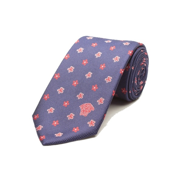 Versace Men's Medusa Logo Floral Pattern Silk Neck Tie