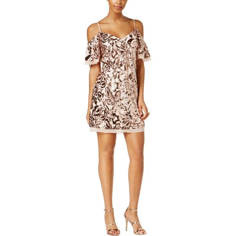 Vince Camuto Womens Cocktail Dress Sequined Cold-Shoulder