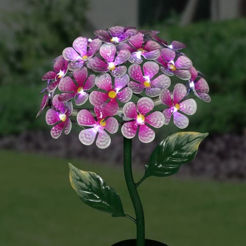 Exhart Solar Metal Hydrangea Garden Stake with Twenty Six LED lights, 7 by 21 Inches