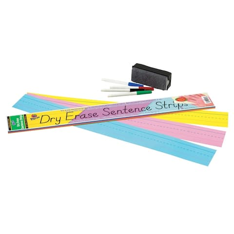 Pacon Dry Erase Sentence Strips, 3 x 24 Inches, Assorted Colors, Pack of 30