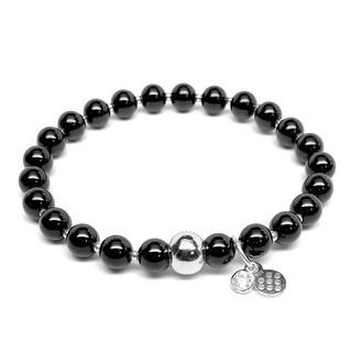 """Black Onyx Lily Sterling Silver 7"""" Bracelet"""