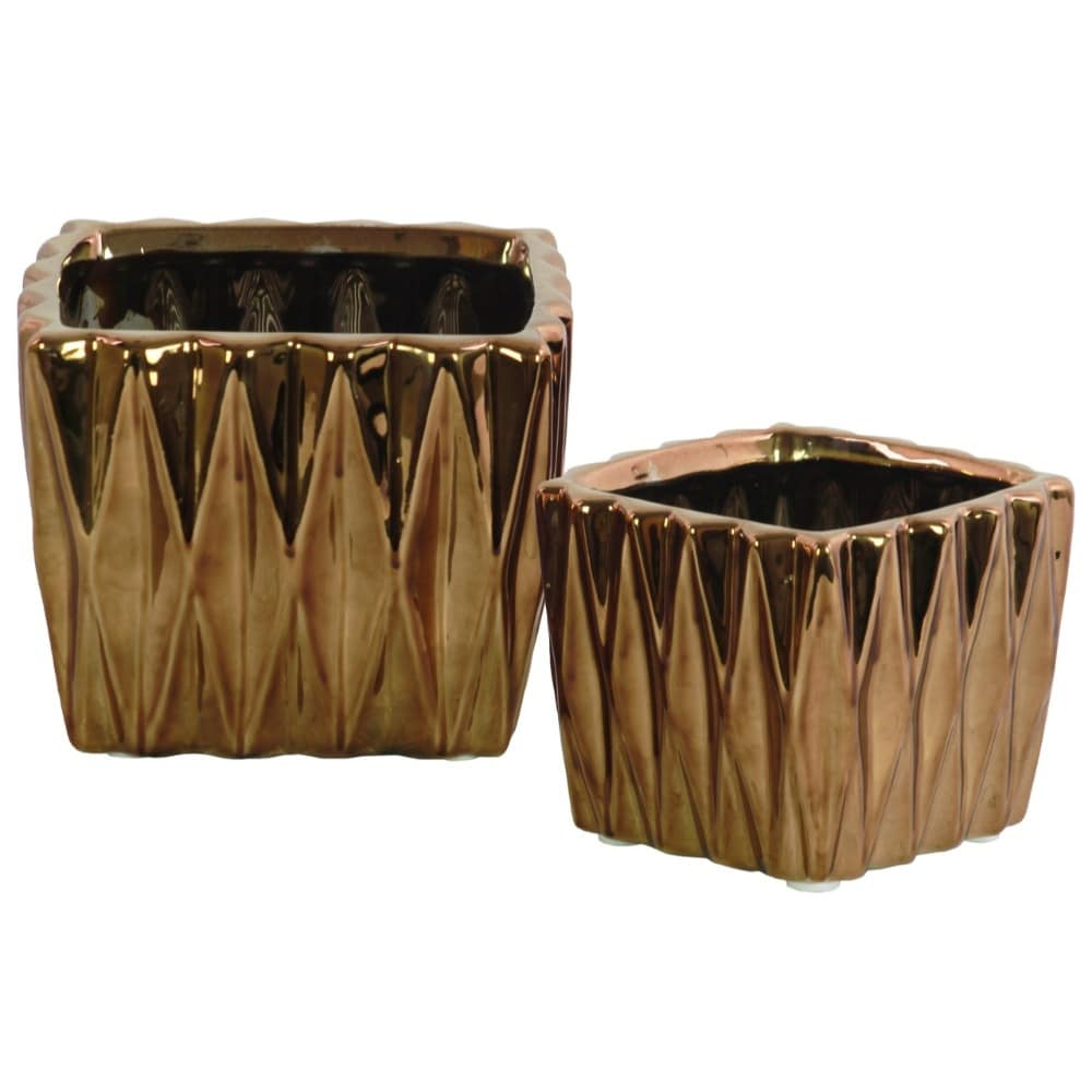 Square Ceramic Vase With 3D Triangle Pattern, Set Of 2, Copper
