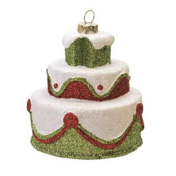 "3"" Merry & Bright White, Green and Red Glittered Shatterproof 3-Tier Cake Christmas Ornament"