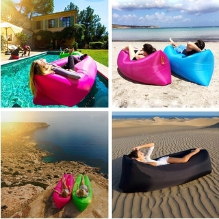 "Kanstar 68"" Air Lounger Fast Inflatable Bag Air Bed Couch Sofa Portable Waterproof Furniture Blue"