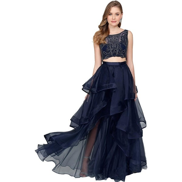 Terani Couture Prom Beaded Crop Top Dress