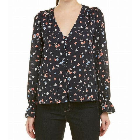 Joie Blue Womens Size Medium M Floral-Print Bell-Cuff Blouse