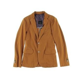 Zara Mens Twill Notch Collar Two-Button Blazer - M