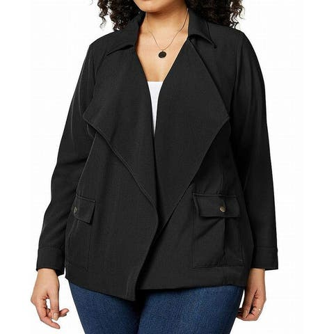 NY Collection Black Women's Size 1X Plus Open Front Drape Jacket