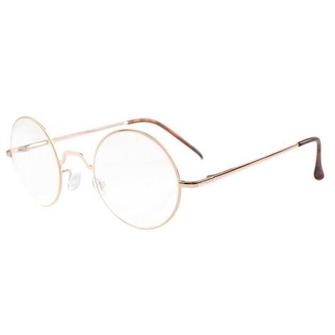 Eyekepper Spring Hinges Round Reading Glasses Gold +2.0