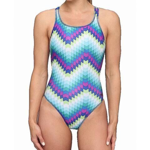 Speedo Women's Swimwear Blue Size 14 Geo Print Open Back One-Piece