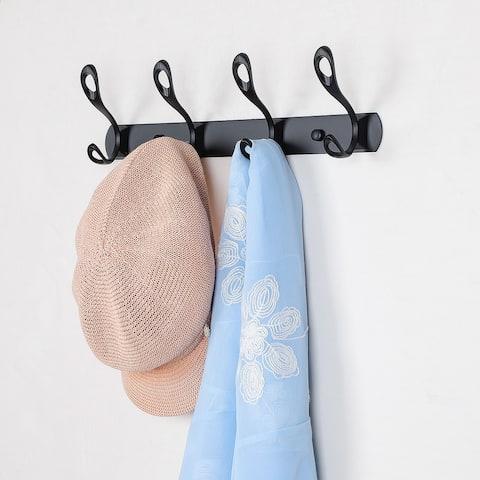 Dual Wall Hooks Stainless Steel Base 13.8 Inch 4 Hooks Cloth Towel Holder Black