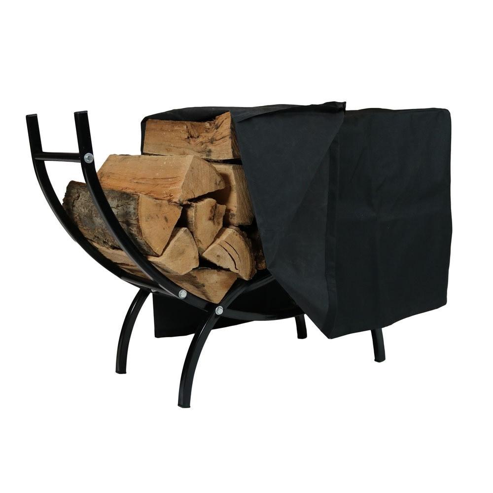 Sunnydaze Curved Firewood Log Rack - Options Available - Black - Thumbnail 12
