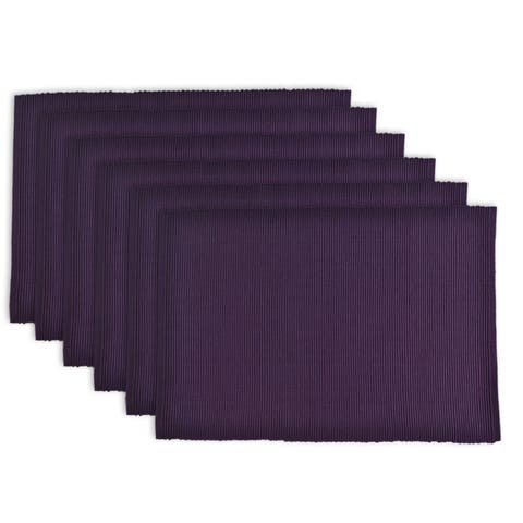 """Set of 6 Eggplant Purple Rectangular Ribbed Placemats 19"""" - N/A"""
